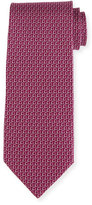 Salvatore Ferragamo Two-Tone Gancio Silk Tie, Purple