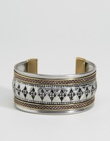 Asos Mixed Metal Etched Cuff Bracelets