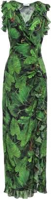 Isolda Wrap-effect Printed Silk Crepe De Chine Maxi Dress