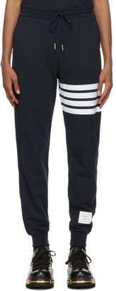 Thom Browne Navy Loopback 4-Bar Lounge Pants