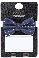 Burton Mens Navy Bow Tie and Cufflink Gift Set