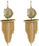 Alexis Bittar Crystal Studded Shell Tassel Wire Earring