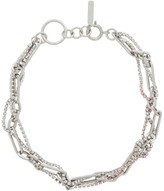 Justine Clenquet Silver and Pink Rosie Choker