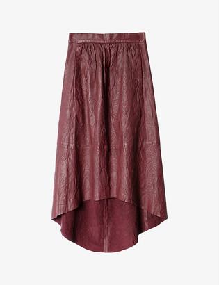 Zadig & Voltaire Joslin Cuir Froissé flared leather skirt