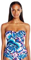 Calvin Klein Women's Wild Blooms Bar Bandeau Tankini with Removable Soft Cups