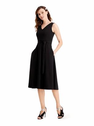 Calvin Klein Self Tie Belted Midi Dress w/Embellished Should Detail - Black - 10