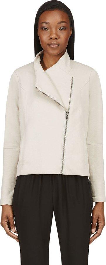 Helmut Lang Beige Double-Zip SoftSweatshirt Jacket