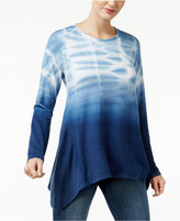 Style&Co. Style & Co. Tie-Dyed Handkerchief-Hem Top, Only at Macy's