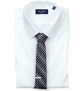 The Tie Bar White Pinpoint Solid - Point Collar Non-Iron Shirt