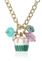 Little Miss Twin Stars 14k Gold-Plated Lattice-Topped Vanilla Cupcake Cluster on Heavy Chain Necklace