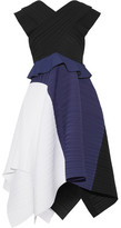 Proenza Schouler Color-block Plissé-crepe Dress - Black