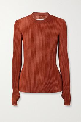 Maison Margiela Metallic Ribbed-knit Sweater - Copper