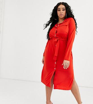 ASOS DESIGN Curve midi belted shirt dress