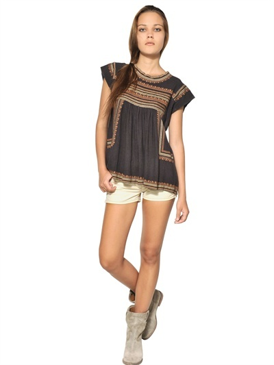 Etoile Isabel Marant Embroidered Raw Silk Top