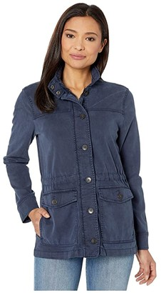 Lucky Brand Long Sleeve Button-Up Two-Pocket Utility Jacket (Navy) Women's Clothing