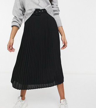Vila Petite high-waisted pleated skirt with belt in black