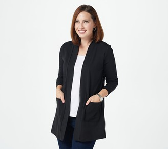 Denim & Co. Essentials Petite Open Front Cardigan with Pockets