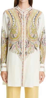 Etro Print Silk Tunic Blouse