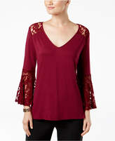 NY Collection Lace-Trim Top