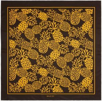 Gucci GG pineapples print silk scarf