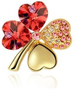 Gold plated Clover Brooch made with a Red Crystal from Swarovski CRY A500 G - Blue Pearls