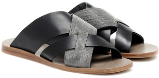 Brunello Cucinelli Embellished leather slides