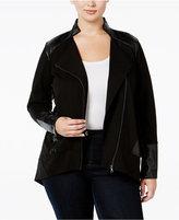 Melissa McCarthy Plus Size Faux-Leather-Trim Moto Jacket