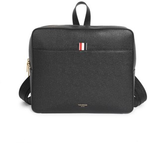 Thom Browne Zip-Top Pebbled Leather Book Bag