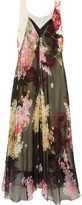Lanvin Floral-print Silk-chiffon And Crepe De Chine Gown - Black
