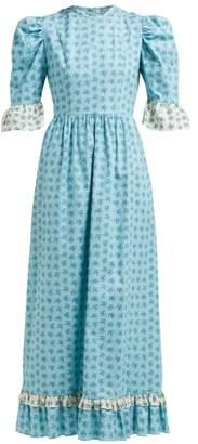 Batsheva Floral Print Ruffled Cotton Dress - Womens - Blue Multi