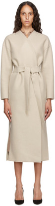 Harris Wharf London Off-White Pressed Wool Belted Coat