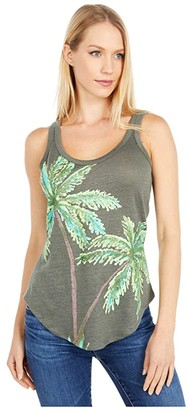 Chaser Water Palm Linen Jersey Shirttail Tank (Safari) Women's Sleeveless