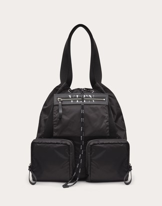 Valentino Garavani Uomo Vltn Nylon Tote Bag Man Black/white 100% Poliammide OneSize