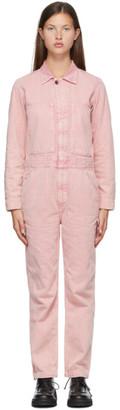 6397 Pink Denim Faded Jumpsuit
