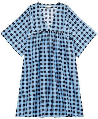 Ganni Check Cotton Silk Midi Dress