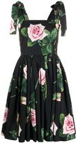 Dolce & Gabbana Rose-Print Flared Dress