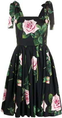 Dolce & Gabbana rose-print flared dress