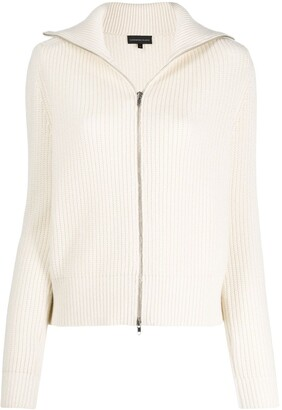 Cashmere In Love ribbed roll-neck Isla cardigan