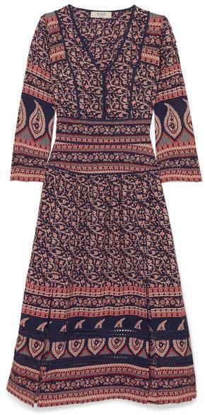Sea Aurora Printed Cotton Midi Dress - Navy