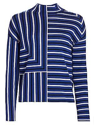 Akris Punto Women's Square Stripe Mockneck Pullover Sweater