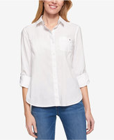 Tommy Hilfiger Cotton Roll-Tab Shirt, Only at Macy's