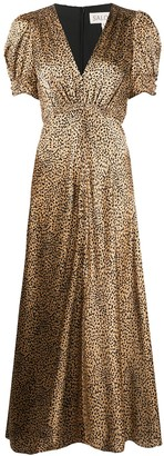 Saloni Leopard Print V-Neck Dress