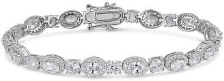 FINE JEWELRY Lab Created White Sapphire Sterling Silver Oval 7.5 Inch Tennis Bracelet