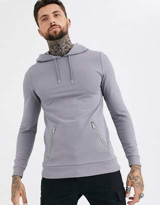 Asos Design DESIGN muscle hoodie in grey with silver zip pockets