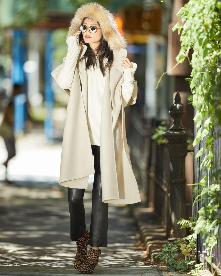 Mackage Helinax Hooded Wool Wrap Cape w/ Fur Trim