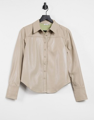 Steele Torri faux leather button up shirt in tan