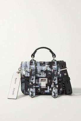 Proenza Schouler Harmony Korine Ps1 Micro Printed Leather Shoulder Bag - Black