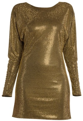Versace Allover Studded Long-Sleeve Mini Dress