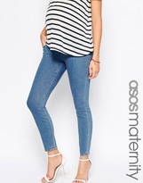 Asos Ridley Skinny Jeans In Lily Pretty Stonewash With Under The Bump Waistband
