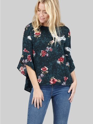 M&Co Izabel floral frill sleeve blouse